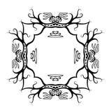 Svart ram i infödd stil med drakar, vektor Royaltyfri Bild