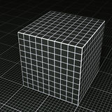 Svart rasterpapperskub på svart rasterpappersgolv Fotografering för Bildbyråer