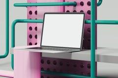 Svart realistisk modern bärbar dator på abstrakt geometrisk bakgrund framförande 3d royaltyfria bilder