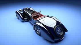Svart retro bil för lyx med den röda salongen Vit bakgrund framförande 3d royaltyfri illustrationer