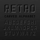 Svart retro stil snidit alfabet royaltyfri illustrationer