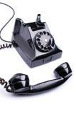 Svart retro telefon arkivfoton