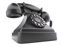 Svart retro telefoncloseup Royaltyfria Bilder