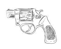 Svart revolver stock illustrationer