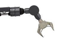 Svart robotic arm Arkivfoto