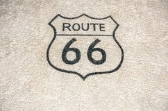 Svart Route 66 tecken Royaltyfria Bilder
