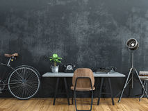 Svart rum som dekoreras i tappningstil Fotografering för Bildbyråer