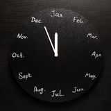 Svart rund klockakalender 12 månader Arkivbilder