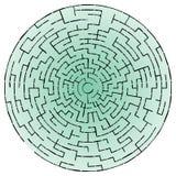 Svart rund labyrint Royaltyfria Bilder
