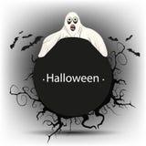 Svart runt baner med en spöke på allhelgonaafton Royaltyfria Bilder