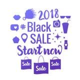 SVART SALE start nu Ljust vektorbaner av shopping 2018 Isolerad uppsättning av försäljningssymboler vektor illustrationer