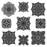 svart samling detailed prydnad stock illustrationer