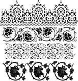 svart samlingsgarnering blom- fyra vektor illustrationer
