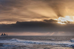 Svart sandstrand Reynisfjara i Island Morgonhimmel- och havvågor Soluppgång Royaltyfria Bilder