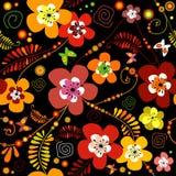 svart seamless blommamodell Arkivfoton