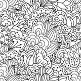 svart seamless white för bakgrund Blom- etniskt, hand drog beståndsdelar för design Arkivbilder