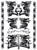 svart set för drake 02 Royaltyfri Fotografi