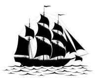 svart ship royaltyfri illustrationer