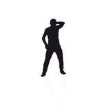 Svart silhouette av en mandans Stock Illustrationer