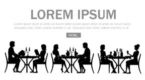 svart silhouette Man och kvinna p? datum i restaurang Tabell med r?tt vinflaskan, kandelaber och italiensk pasta huvudet f?r uppn vektor illustrationer