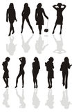 svart siluette för flicka s stock illustrationer