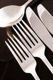 svart silverware Arkivfoto