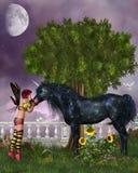 svart sista unicorn stock illustrationer