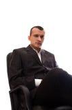 svart sitting för affärsmanstolskontor Royaltyfri Fotografi