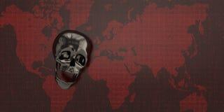 Svart skalle på röd digital världskarta illustration 3d vektor illustrationer