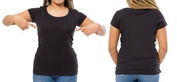 Svart skjortauppsättning Skjortadesign för sommar t och att stänga sig upp av den unga afro amerikanska t-skjortan för kvinnablan arkivbild