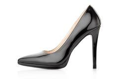 Svart sko för kvinna Arkivfoton