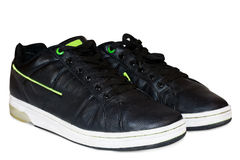 svart skodonläder Arkivbild