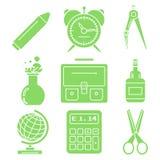 Svart skolagods, gröna linjära symboler Del 1 Arkivbild