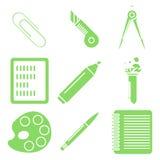 Svart skolagods, gröna linjära symboler Del 2 Royaltyfria Foton
