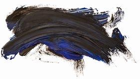 Svart slaglängd för borste för fläck för oljatexturmålarfärg med blåa fläckar arkivfoto