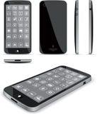Svart smart telefon 3D och konventionella sikter royaltyfri illustrationer