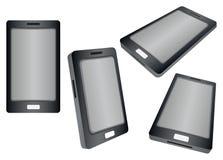 Svart smart telefon i sikter för olikt perspektiv som isoleras på Whi Royaltyfri Bild
