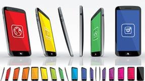Svart smart telefon - multipelsikter vektor illustrationer