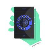 Svart smartphone med en blå manöverenhet Royaltyfri Bild