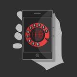 Svart smartphone med en röd manöverenhet Fotografering för Bildbyråer