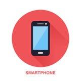 Svart smartphone med för lägenhetstil för tom skärm symbolen Trådlös teknologi, mobiltelefontecken Vektorillustration av Arkivfoto