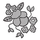 Svart snör åt blommaapplique royaltyfri illustrationer