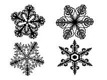 svart snowflake vektor illustrationer