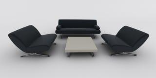 svart sofa för fåtöljer Royaltyfri Fotografi