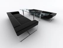 svart sofa för fåtöljer Royaltyfria Foton