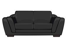 Svart soffa för vektortecknad film som isoleras på vit Royaltyfri Bild