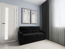 Svart soffa i modern inre Arkivbild