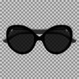 Svart solglasögon på en genomskinlig bakgrund Arkivfoton