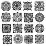 Svart specificerad prydnad- eller mandalasamling royaltyfri illustrationer