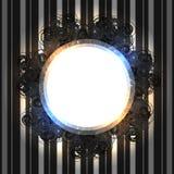 Svart spets- tappningram med glänsande ljus på randig silverbakgrund Royaltyfria Foton